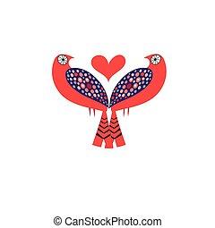 Bright Vector love birds with hearts
