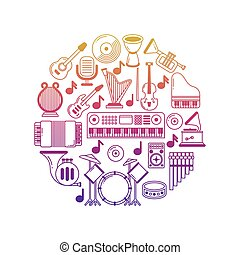 Bright vector music poster with musical instruments icons