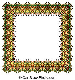 Bright vector ornamental frame. Isolated square element.