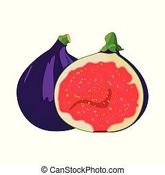 Bright vector set of colorful half, slice and whole of juicy fig. Fresh cartoon fig isolated on white background.