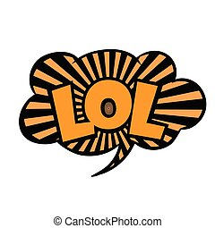 Bright vector speech bubble LOL. Black and yellow striped emotional icon isolated on white background. Comic and cartoon style.