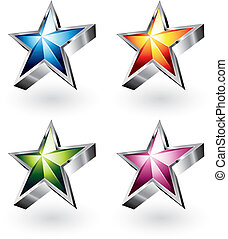Bright vector star in four different colors
