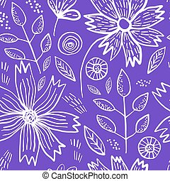 Bright violet pattern with spring flowers