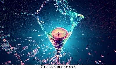 Bright water splash cocktail in slowmotion - Bright cocktail...