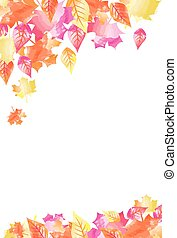 Bright Watercolor Fall Autumn Leaves Background