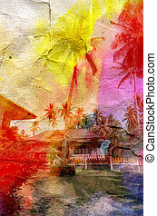 bright watercolor landscape with palm trees