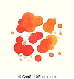 Bright watercolor painting of fire explosive clouds. Bang...