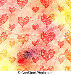 watercolor pattern of hearts - bright watercolor pattern of...