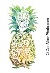 Bright watercolor pineapple silhouette with grunge lettering inside.