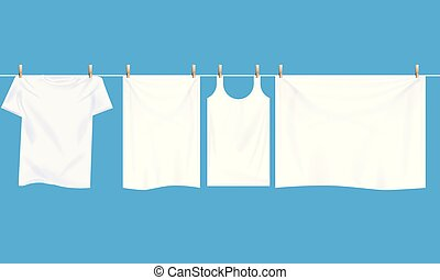 Bright white clothes hanging out on wire to dry. Realistic...