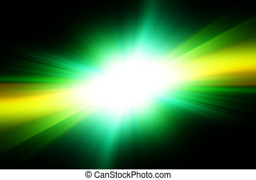 Bright white flash on a green and black background.