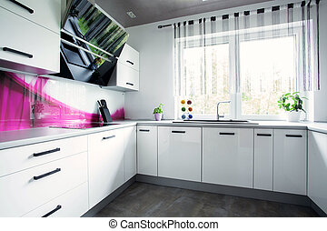 Bright white kitchen - View of interior of bright white...