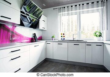 Bright white kitchen - View of interior of bright white ...