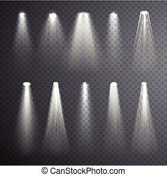 Bright white light beam.