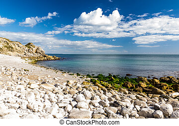 Bright white Portland Stone on the the beach at Church Ope Cove, Isle of Portland Dorset England UK