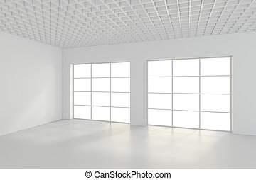 Bright white room with windows.
