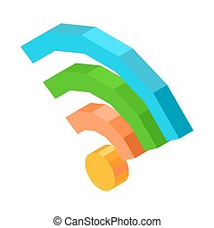 Bright wifi conection icon isolated 3D cartoon illustration...