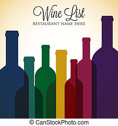 Bright wine list menu cover in vector format.