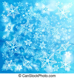 bright winter background with snowflakes - watercolor bright...