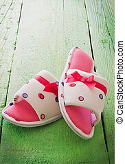 women house slippers - bright women house slippers on a ...