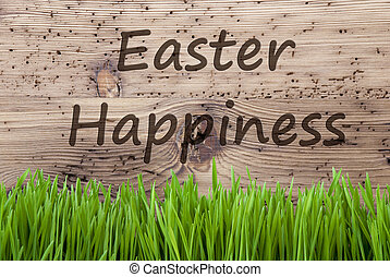 Bright Wooden Background, Gras, Text Easter Happiness