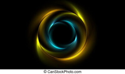 Bright yellow and blue glowing rings video animation -...