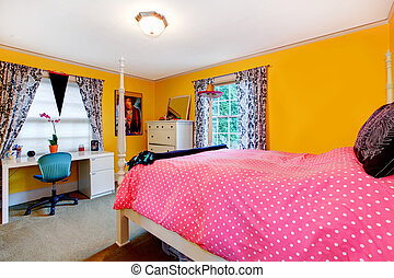 Bright yellow and pink young adult room