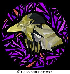 Bright yellow bird framed by purple triangles in a circle.
