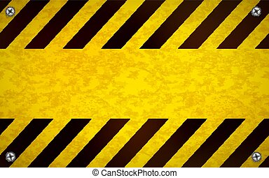 Bright yellow blank warning sign template with metal screws