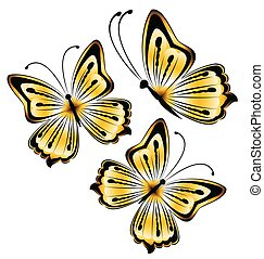 bright yellow butterflies on a white background illustration