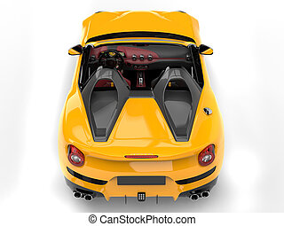 Bright yellow cabrio sports car - top down view