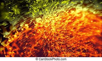 bright yellow fireflies move