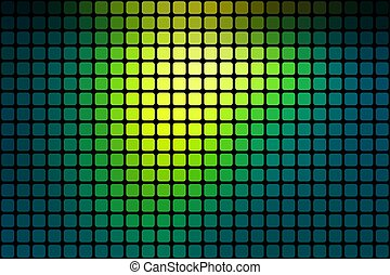 Bright yellow green abstract rounded mosaic background over black