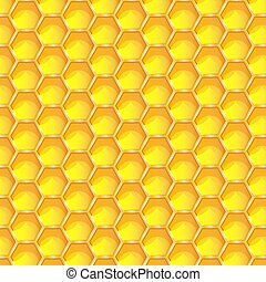 Bright yellow honeycomb seamless pattern background. Hexagonal prismatic wax cells built by honey bees in their nests vector eps 10 illustration