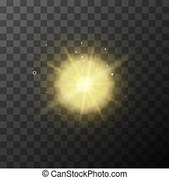 Bright yellow lighting effect with magic sparkles on transparent background