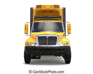 Bright yellow modern cargo truck - front view