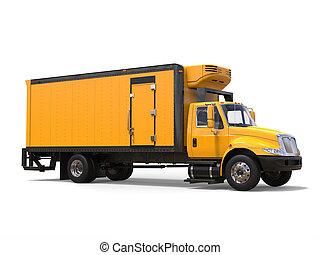 Bright yellow modern cargo truck