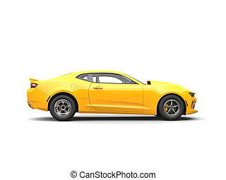 Bright yellow modern muscle car - side view