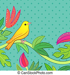 Bright yellow, orange little tropical forest bird and wild...