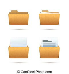 Bright yellow realistic folder icons with documents isolated on white