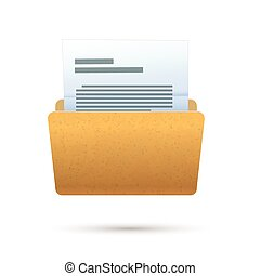 Bright yellow realistic open folder with text document, icon on white