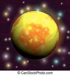 Bright yellow-red planet in space with stars. Cartoon style. Vector