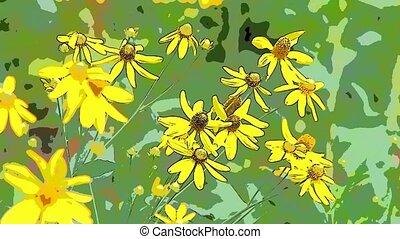 Bright yellow rudbeckia flower
