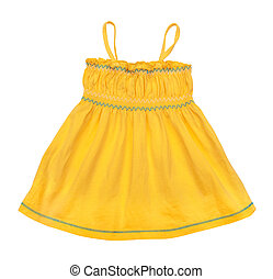 bright yellow singlet baby on a white background