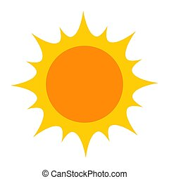 Bright yellow sun icon. Vector illustration