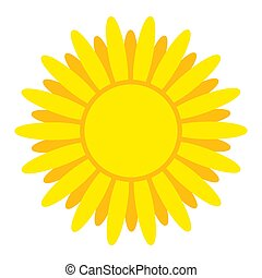 Bright yellow sun with rays. Element for design