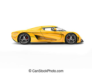 Bright yellow super car - side view