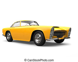 Bright yellow vintage muscle concept car