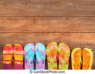 brightly, дерево, цветной, flip-flops