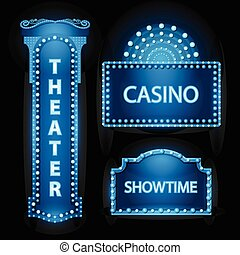 Brightly blue theater glowing retro cinema neon sign -...